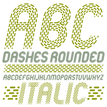 Set of trendy vector capital English alphabet letters, abc isolated. Rounded bold italic retro type font, script from a to z can be used for logo creation. Made using rhythmic strokes and dashed lines.