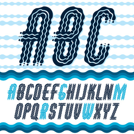Vector elegant ornate upper case English alphabet letters, abc collection. Rounded bold italic condensed font, typescript for use as retro poster design elements. Made with flowing lines.