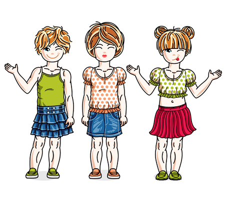 Pretty little girls standing wearing casual clothes. Vector set of beautiful kids illustrations. Childhood and family lifestyle clip art.