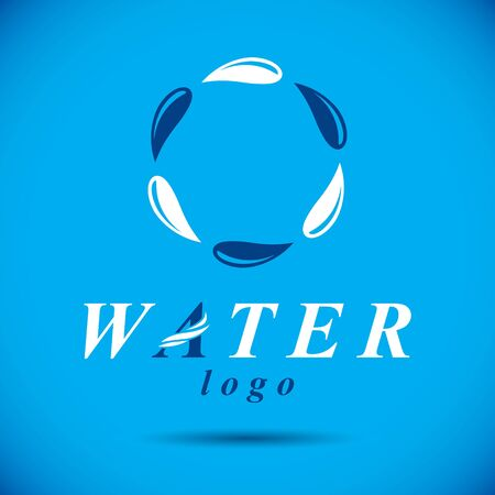Pure water vector abstract logo for use as marketing design symbol. Human and nature harmony concept.