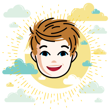 Boy face, vector human head illustration, portrait. Red-haired teenager expressing positive emotions.