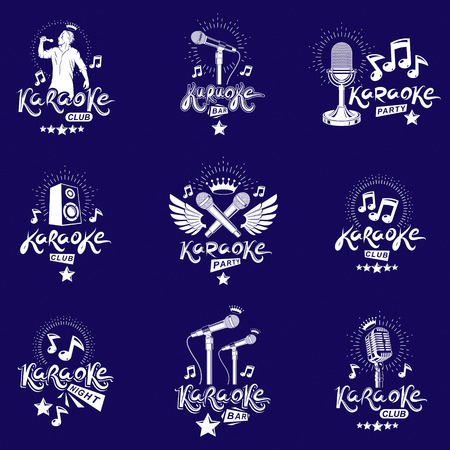 Set of emblems and leaflets created using musical notes.
