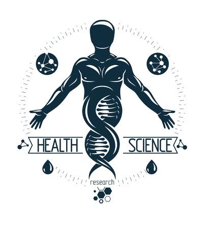 Illustration of human athlete depicted as DNA symbol. Illustration