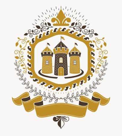 Vecchio stile araldica, emblema araldico, illustrazione vettoriale. Archivio Fotografico - 91133367