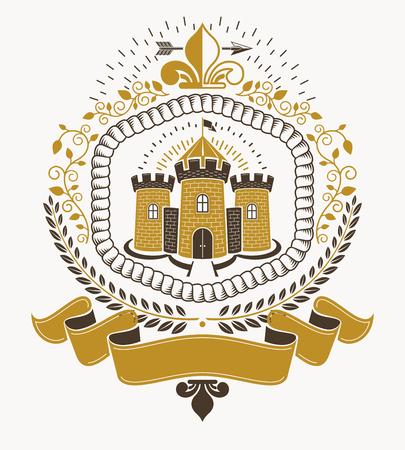 Old style heraldry, heraldic emblem, vector illustration.