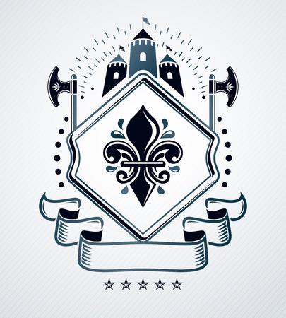Classy emblem, vector heraldic Coat of Arms. Illusztráció