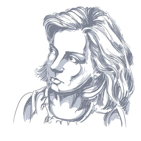 Portret van gevoelige knappe vreedzame vrouw, zwart-witte vectortekening. Emotionele uitdrukkingen idee afbeelding.