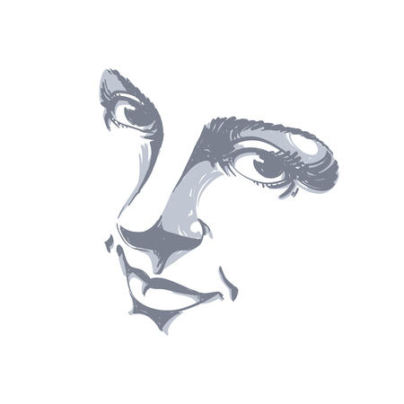 Monochrome silhouette of smiling attractive lady, face features. Hand-drawn vector illustration of woman visage, outline. Ilustrace