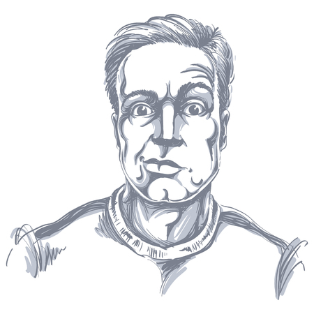 Handgetekende vectorillustratie van sceptische man met kort haar. Zwart-wit beeld, uitdrukkingen op het gezicht van de jonge man, geschokt persoon.