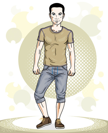 Handsome brunet young man standing. Vector illustration of sportsman.  Active and healthy lifestyle theme cartoon.