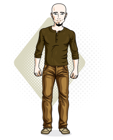Handsome bald young man standing. Vector illustration of man with beard wearing stylish casual clothes.