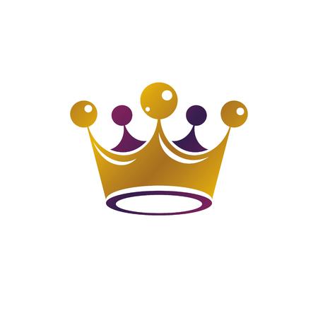 Royal Crown vector illustration. Heraldic design element. Retro style logo. Ornate logotype isolated on white background.
