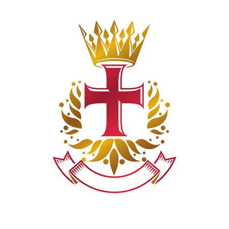 Vintage heraldry emblem design template.