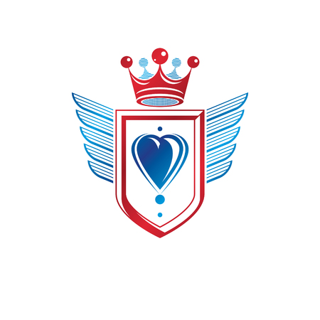 Heraldic coat of arms decorative emblem with wings and heart shape. Winged protection shield emblem created with imperial crown, isolated vector illustration. Illustration