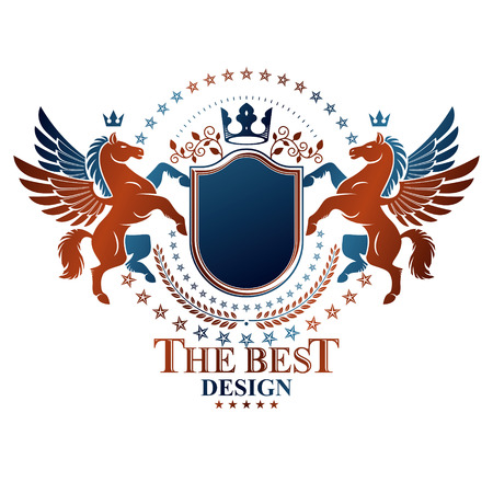 Graphic vintage emblem composed with winged Pegasus ancient animal element, royal crown and pentagonal stars. Heraldic vector design element. Retro style label, heraldry logo. Illustration