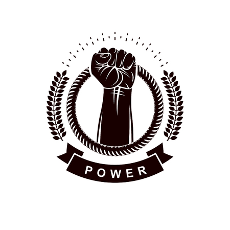 Vector logo composed using strong muscular raised arm surrounded by rope. Proletarian leader abstract symbol.