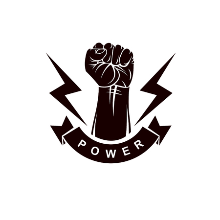 Clenched fist of angry man vector emblem. People demonstration, fighting for their rights and freedom.