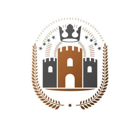 Ancient Castle emblem. Heraldic Coat of Arms decorative isolated vector illustration. Ornate in old style on white background.