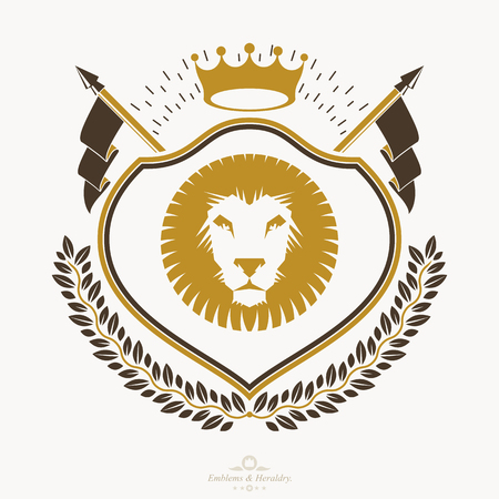 Heraldic emblem isolated vector illustration. Illustration