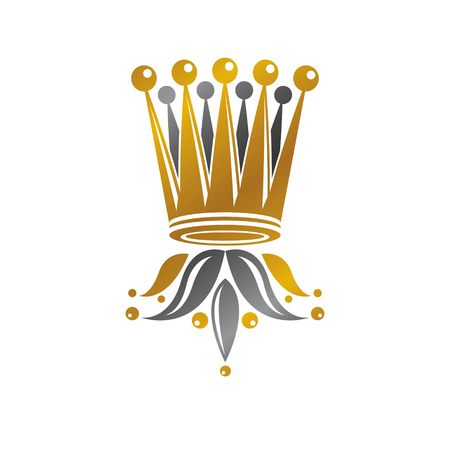 Imperial Crown vector illustration. Heraldic vintage. Antique isolated оn white background.