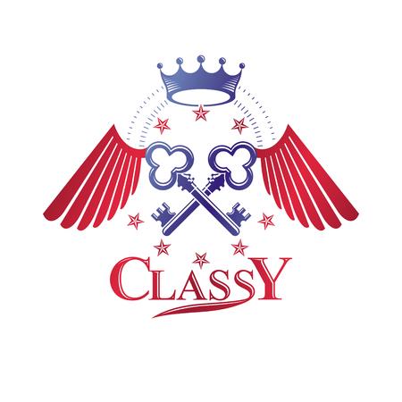 Safety keys decorative emblem composed with pentagonal stars and bird wings. Heraldic vector design element. Retro style label, heraldry logo, defense vintage symbol.