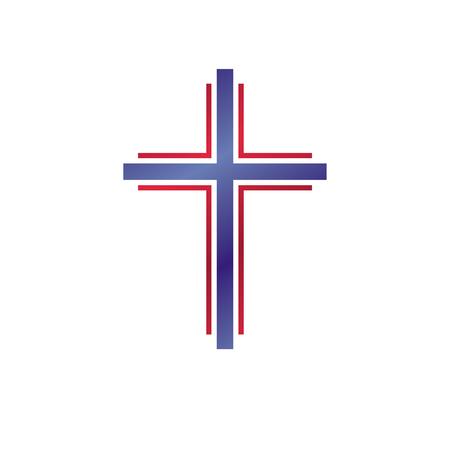 Cross of Christianity graphic emblem. Heraldic vector design element. Retro style label, heraldry logo, religious insignia. Vettoriali