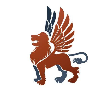 Winged Gryphon, mythical animal ancient emblem element. Heraldic vector design element. Retro style label, heraldry logo. Illusztráció