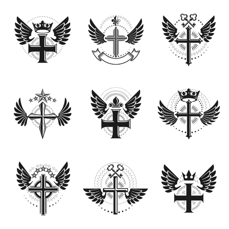 Christian Crosses emblems set. Heraldic Coat of Arms decorative isolated vector illustrations collection.