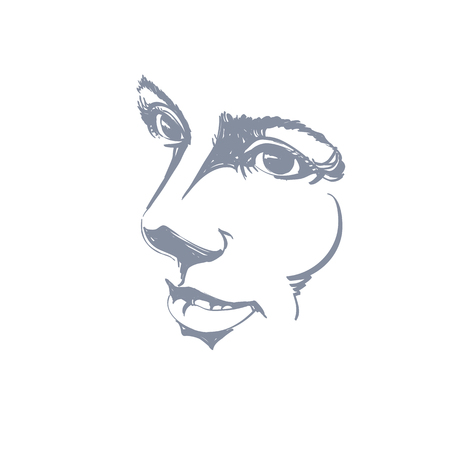 A Vector drawing of pensive woman thinking about something. Black and white portrait of attractive still lady with delicate features.