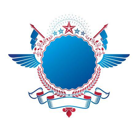Graphic winged emblem composed using ancient star and laurel wreath. Heraldic vector design element. Retro style label, heraldry. Illustration