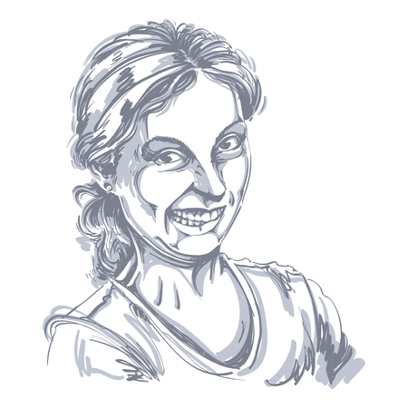 A Vector drawing of woman making a funny grimace. Black and white portrait of girl making a silly face.