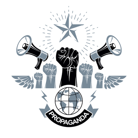 Marketing banner composed with loudspeakers, raised clenched fists and Earth planet, vector illustration. Propaganda as the means of influence on global public opinion. Illustration