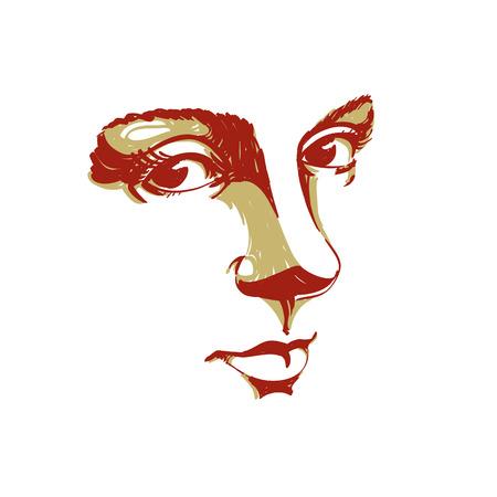 Handgetekende silhouet van melancholische vreedzame vrouw gezicht, delicate functies. Gezichtsuitdrukking op damegezicht, vectorillustratie.