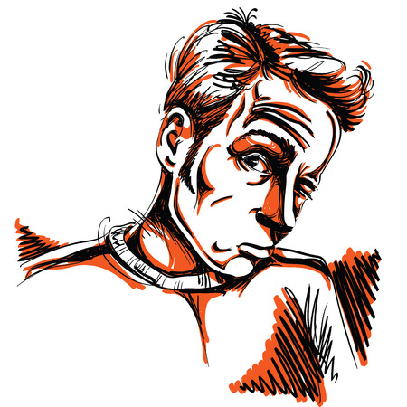 A Vector drawing of drunk man or gambler with wrinkles on his forehead. Colorful portrait of tricky guy.