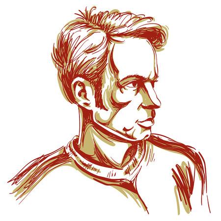 ベクター アート、誰かを責める男の肖像画を描画するこれは良いです。顔の表情、人々 の感情。