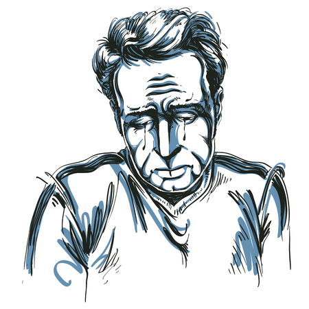 A Vector drawing of crying depressed man feeling sorry about something. Black and white portrait of distressed guy.
