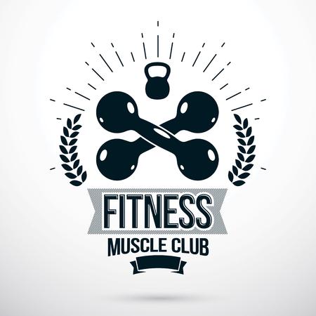 Bodybuilding and fitness sport emblem illustration.