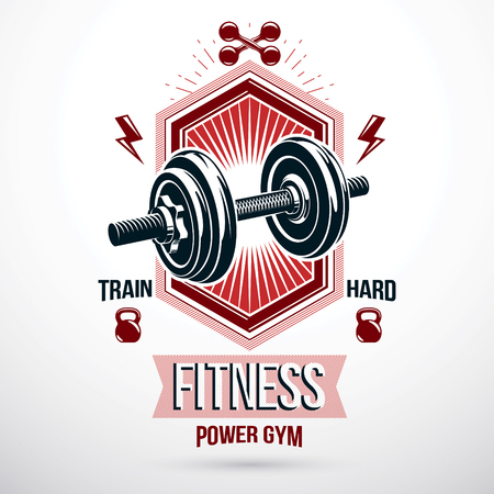 Vector sport equipment, dumbbell with disc weight and kettle bell. Fitness workout conceptual emblem