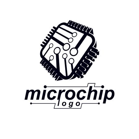 Vector microchip design, cpu. Information communication technology element, circuit board in square shape. Microprocessor scheme abstract logo. Illustration