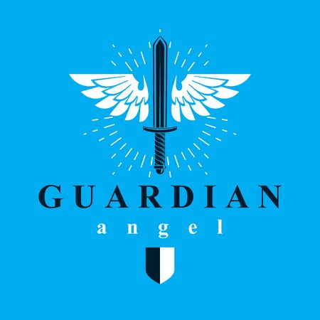 A Vector graphic illustration of sword composed with bird wings, war and freedom metaphor symbol. Guardian angel vector abstract emblem.