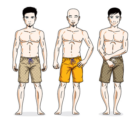 Handsome men standing wearing beach shorts. Vector people illustrations set. Lifestyle theme male characters. Illustration