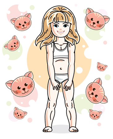 Sweet little blonde girl standing on childish background with kittens and wearing panties. Vector kid illustration.
