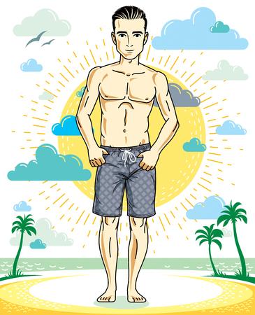 ハンサムな若い男の熱帯のビーチのショート パンツで上に立っています。  イラスト・ベクター素材