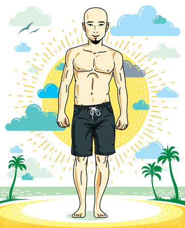 Handsome hairless young man with beard standing on tropical beach in bright shorts. Vector athletic male illustration. Summer vacation lifestyle theme cartoon. Illustration