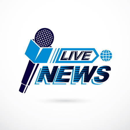 Live reportage conceptual logo, vector illustration created with microphones equipment and live news writing.