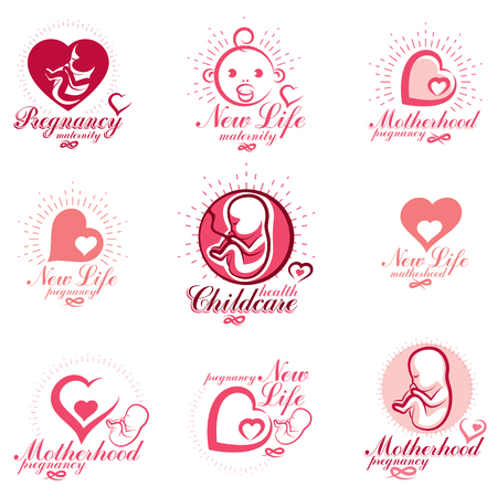 Human fetus hand-drawn vector emblems collection isolated on white. New life conceptual symbols. Pregnancy support and mother care abstract icons
