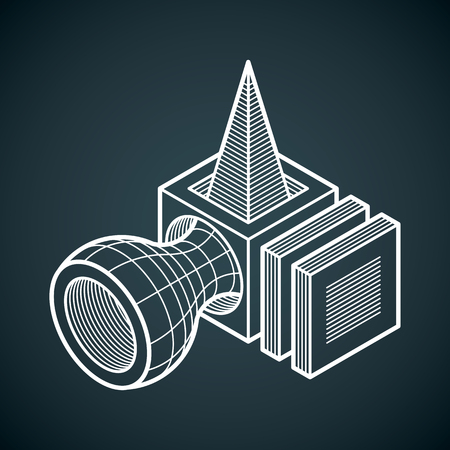 3D design, abstract vector dimensional cube shape.  イラスト・ベクター素材