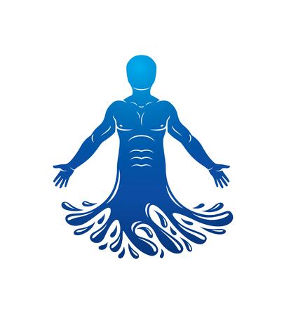 인간, 선수의 벡터 일러스트 레이 션. 포세이돈은 바다의 신이며 모든 바다의 수호자입니다.