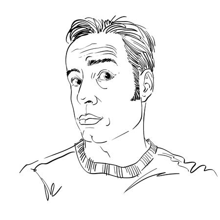 Handgetekende vectorillustratie van geschokt man, disbeliever thema. Zwart-wit beeld, uitdrukkingen op het gezicht van de jonge man. Stock Illustratie
