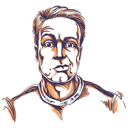 Handgetekende vectorillustratie van sceptische man met kort haar. Artistiek beeld, uitdrukkingen op het gezicht van de jonge man, geschokt persoon.